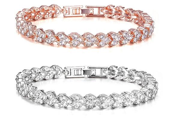 18cm Heart Shape Zircon Tennis Chain Bracelet Rose Gold Color Crystal Rhinestone