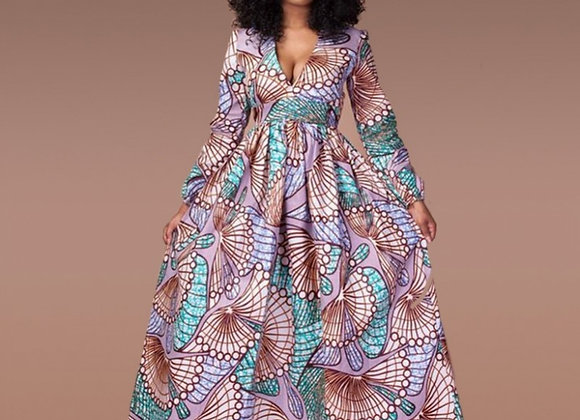 Fadzeco Elegant African Dresses Dashiki Print v Neck Long Robe Dress Vestidos