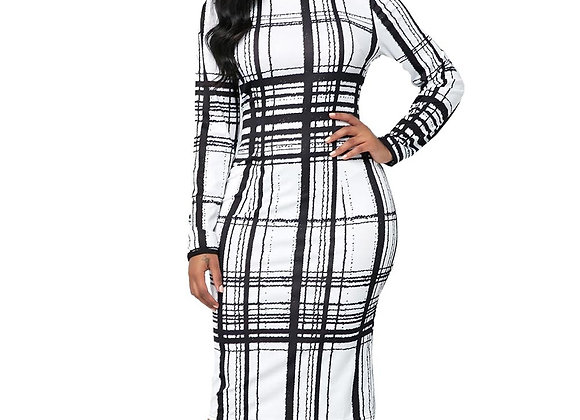 Casual Plus Size Slim Office Bodycon Dresses Vintage Elegant Long Party Dress