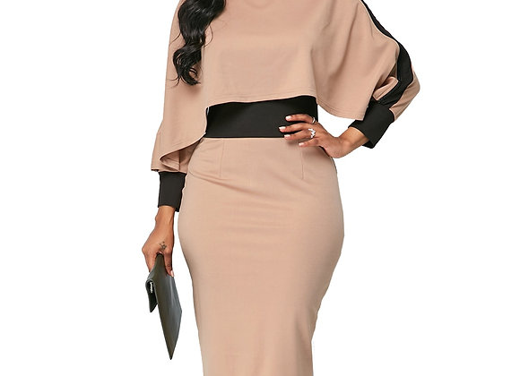 Casual Plus Size Slim Office Bodycon Dresses Elegant Vintage Split Patchwo
