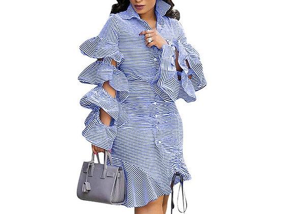 Blue Striped Irregular Shirt Dress Women Layered Ruffles Sleeve Button Up