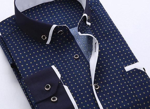 Business Mens Dot Plaid Print Turndown Collar Long Sleeve Button Shirt Blouse