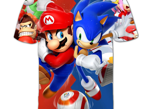Classic Cartoon Mario Sonic Sport 3D T-Shirt New Harajuku Style Game Mario Bros