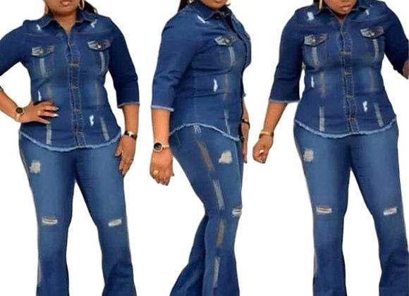 2 Piece Set African Clothes for Women Dress Autumn Vestidos Elastic Jeans Suit