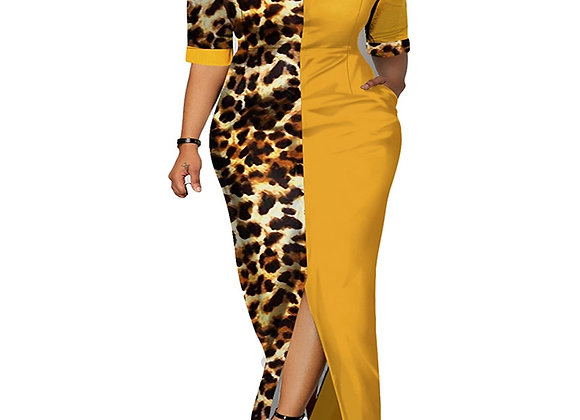 African Dress Casual Plus Size Slim Patchwork Color Maxi Dresses Elegant
