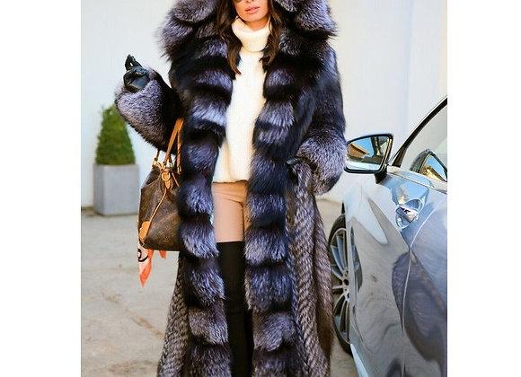 BFFUR Luxury Fur Coats Women 120cm Long Real Silver Fox Fur Coat With Big Hood
