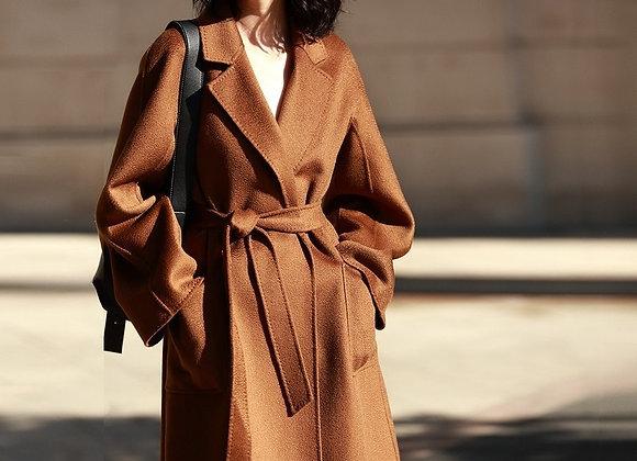 AIGYPTOS Classic Coat Double-Faced Cashmere Coat Woolen Coat Female Wavy