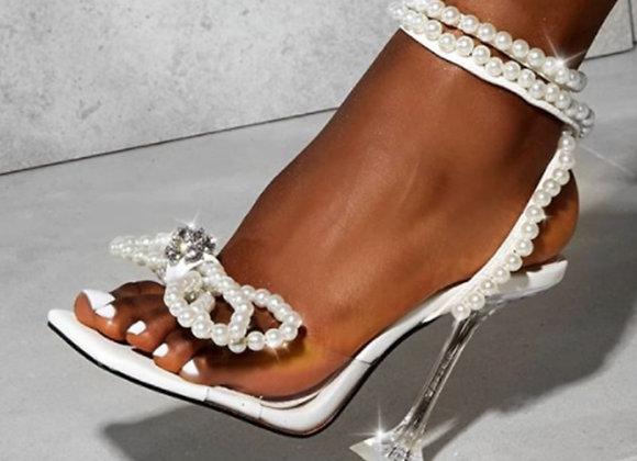Eilyken Women Gladiator Sandals Shoes Sexy White String Bead High Heels Sandals