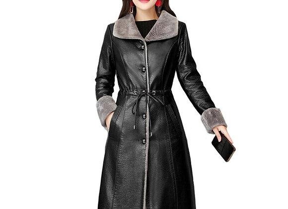 2020 Women Fur Leather Jacket Winter Autumn Plus Size 4XL Long Fur Leather Trenc