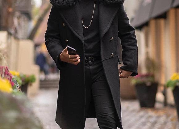 Cool Man Autumn Winter Long Coat Faux Fur Collar Casual Business Streetwear