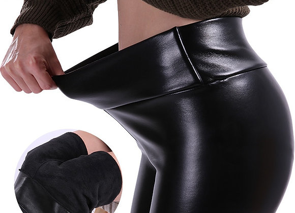 CHRLEISURE S-5xl Women Plus Size Winter Leather Pants Warm Velvet Pant High Wais