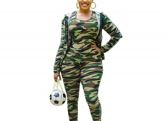 Camouflage Jacket Tops With Tank and Skinny Pants Suit Fashion Autumn Sportswear