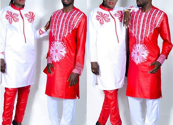 African Dress for Woman Bazin Riche Embroidery Design Top and Pants