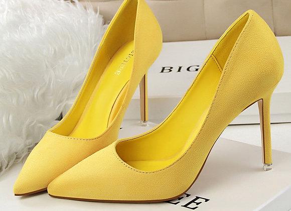 2020 Elegant 10cm High Heels  Flock Classic Scarpin Plus Size 43