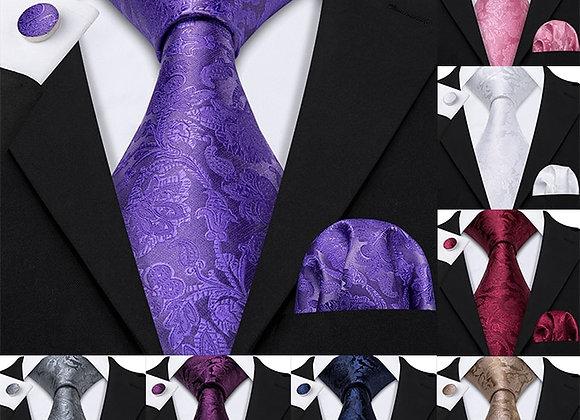 11 Styles Men 100% Silk Tie for Men Wedding Purple Necktie Handkerchief Paisley