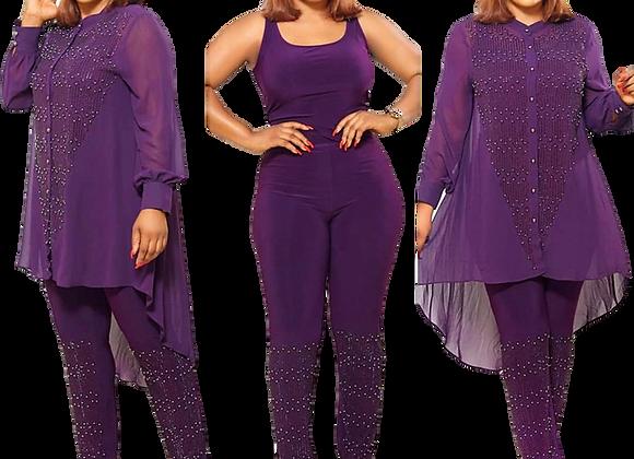 3 Piece Set African Dresses for Women Dashiki Button Diamond African Dress Bodyc