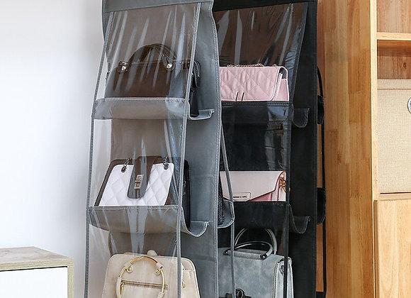 6 Pocket Hanging Handbag Transparent Storage Bag Clear Home Organizer for Wa