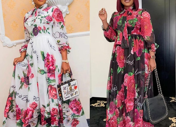 African Dresses for Women Vintage Floral Print Outfit Long Dress Full Sleeve Das