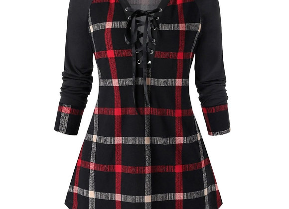 Fashion Plaid Lace Up Tunic Blouse Plus Size Casual Winter Ladies Bottom Tops