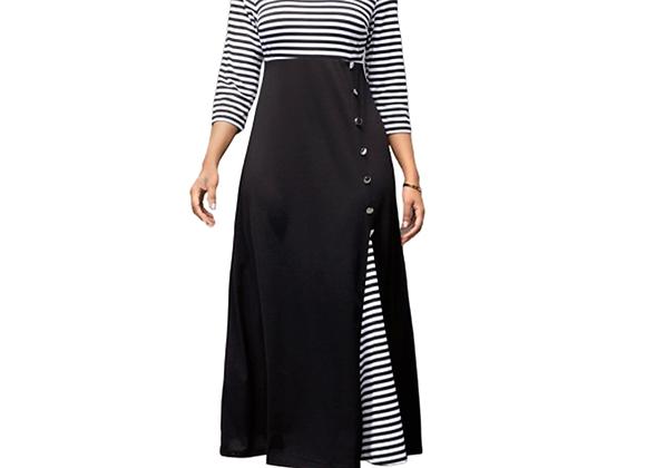 Casual Striped Patchwork Long Maxi Dress Long Sleeve 3XL 4XL 5XL Large Size