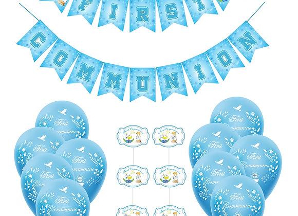 1Set Blue First Holy Communion Banner Sky-Blue Balloons Cake Topper