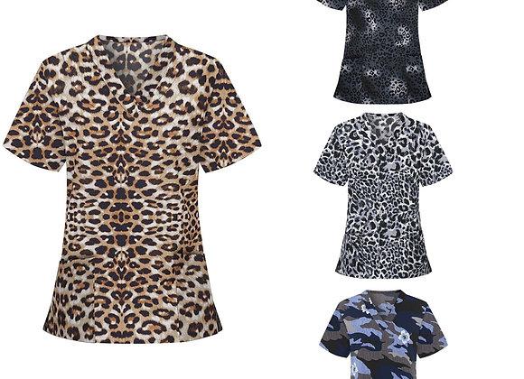 #A023 Women Short Sleeve V-Neck Tops Working Uniform Leopard Print Blouse Female