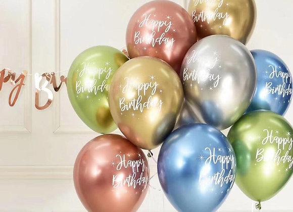 10pcs 12inch Chrome Metallic Latex Balloons Happy Birthday Printed Pattern