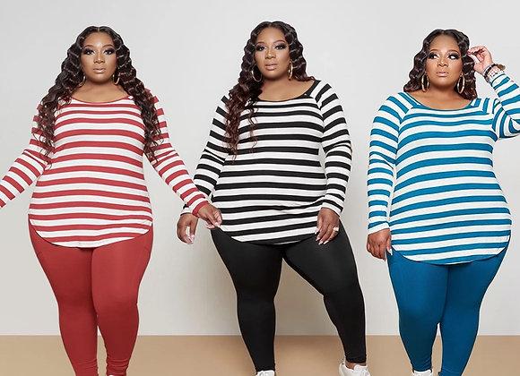 CM.YAYA Activewear Classic Plus Size XL-5XL Women's Set Striped Sweatshirt Pants