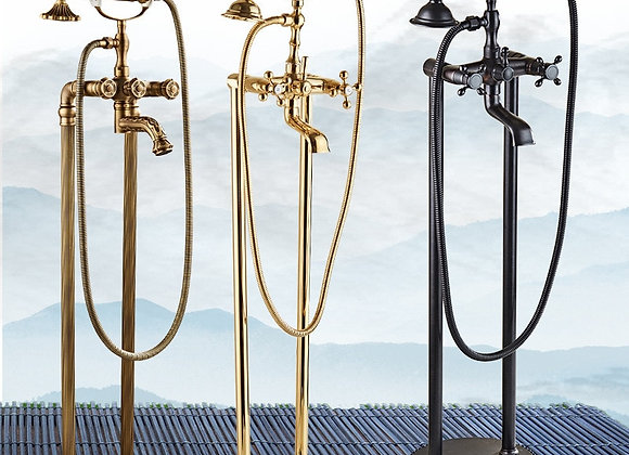 Antique Bathtub Shower Faucet Standing Brass Shower System Rose Gold Flexible