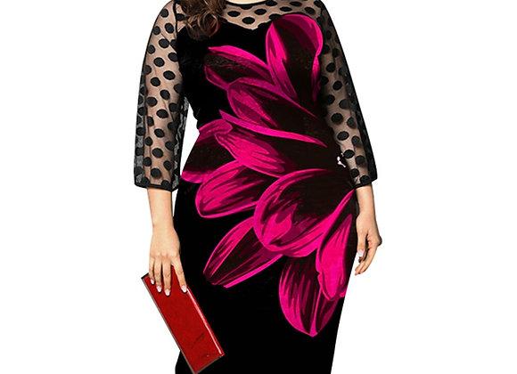 5XL Transparent Mesh Patchwork Dress Polka Dot Vintage Dress Women Elegant Flora