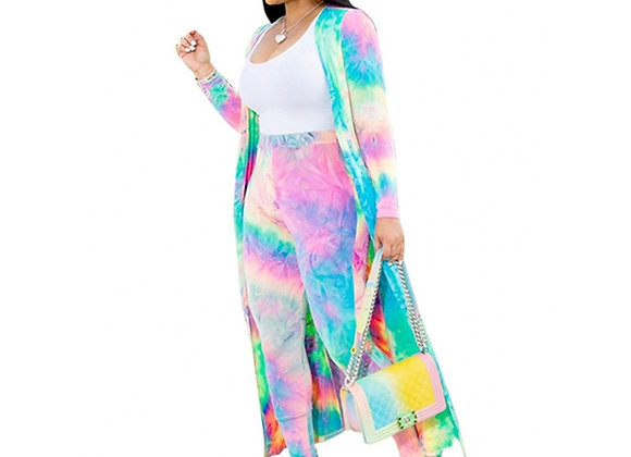 2 Piece Women Set 2020 New African Tie Dye Print Elastic Pants Rock Style Dashik