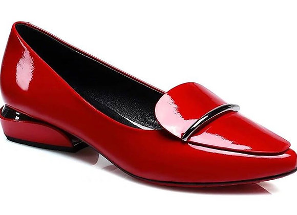 Elegant Red Pointed Toe Flat Shoes Women Patent Leather Flats Fashion Slip