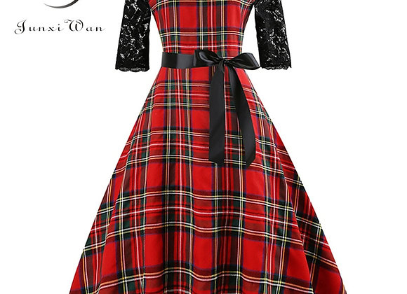 Autumn Lace Retro Vintage Dress Slim Plaid Print Casual Elegant Party Dresses