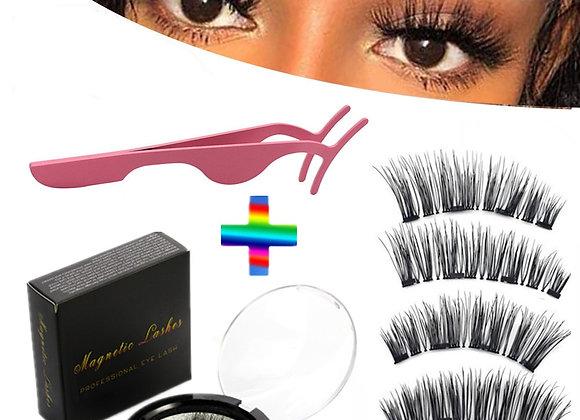 4 Pieces of Natural Magnetic Eyelashes, Reusable Eyelashes, Glue-Free Eyelashes