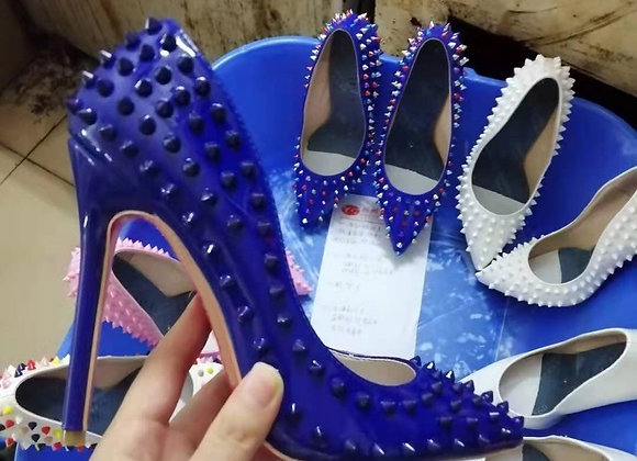 Fashion Dark Blue Rivets Studs Pumps Woman Spikes Patent Leather Pointed Toe