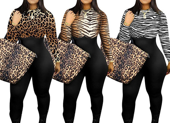 Fall Clothes Long Sleeve One Piece Jumpsuit High Waist Sexy Leopard Rompers Wom