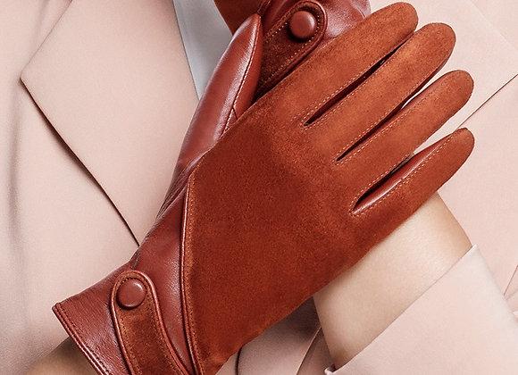 BOOUNI Genuine Leather Gloves Fashion Women Suede Sheepskin Glove Thermal WinteR