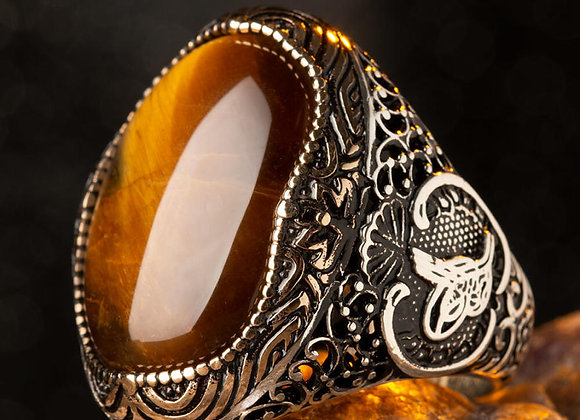925 Sterling Silver Brown TigerEye Stone Big Men's Ring With Ottoman Tughra on