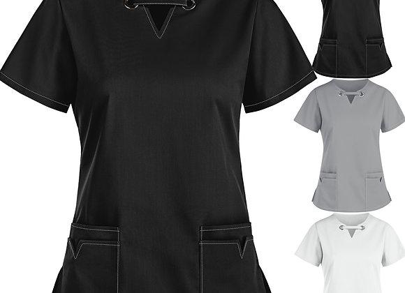#AD69 Women Short Sleeve V-Neck Tops Working Uniform Solid Color Pocket Blouse
