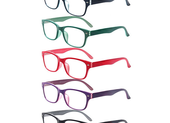 5 Pack Reading Glasses for Men and Women  Spring Hinge Oval Frames Colorful Re