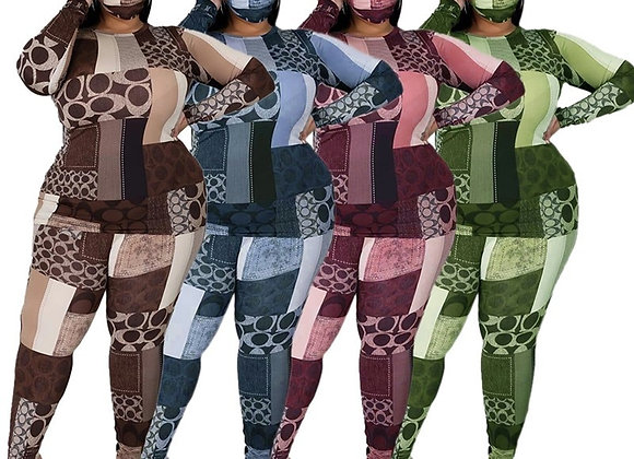 Fall Plus Size Clothing 2 Piece Set Tracksuit Stretch Top and Pants Outfits