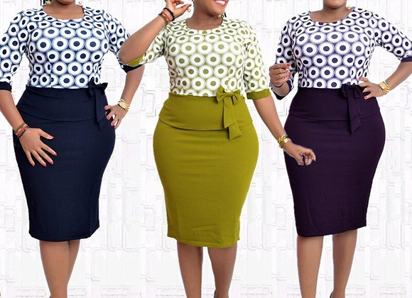 2021 New Fashion  African Women O-Neck Printing Plus Size Knee-Length Dress