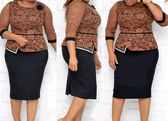 African Women O-Neck Lace Plus Size Dress  American Clothing  African