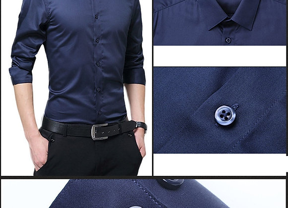 2020 New Fashion Men Cotton Long Sleeve Shirt Solid Slim Business Formal Shirts