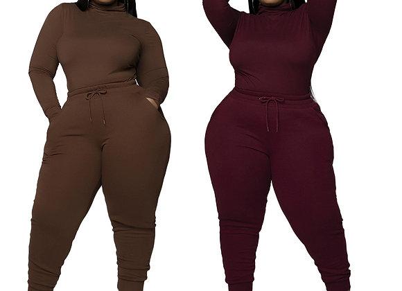 CM.YAYA Active Plus Size L-5xl Women's Set Turtleneck Tee Tops Jogger Pants