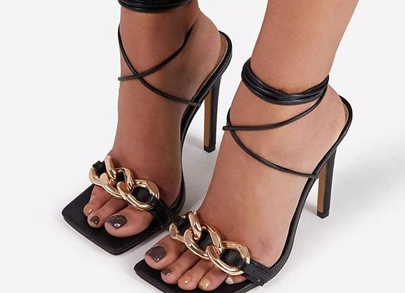 Eilyken 2021Summer Square Toe Sandals Women Fashion Metal Chain Decoration