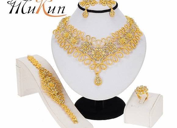 Dubai Women Gold Color Jewelry Sets African Wedding Bridal Ornament Gifts