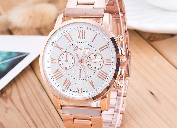 2020 New Famous Brand Geneva Rosy Gold Casual Quartz Watch Women Full Stainless