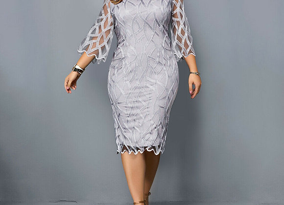 6XL Elegant Women Dress Plus Size Transparent Seven Sleeve Party Dress Autumn