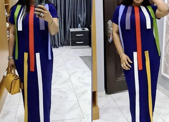 African Dresses for Women Dashiki Stripe Patchwok Maxi African Dress Robe Boubou